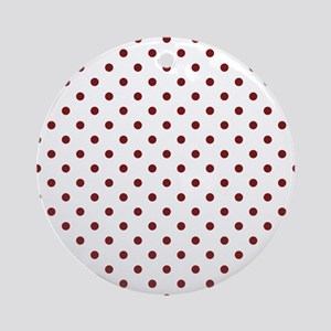 white with red dots Round Ornament