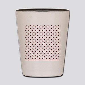 white with red dots Shot Glass