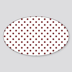 white with red dots Sticker (Oval)
