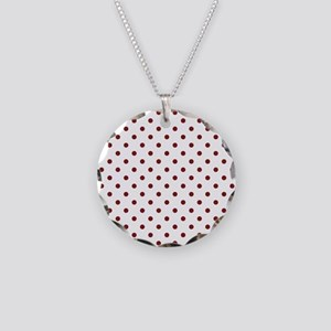 white with red dots Necklace Circle Charm