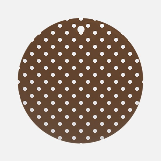 brown with white dots Round Ornament