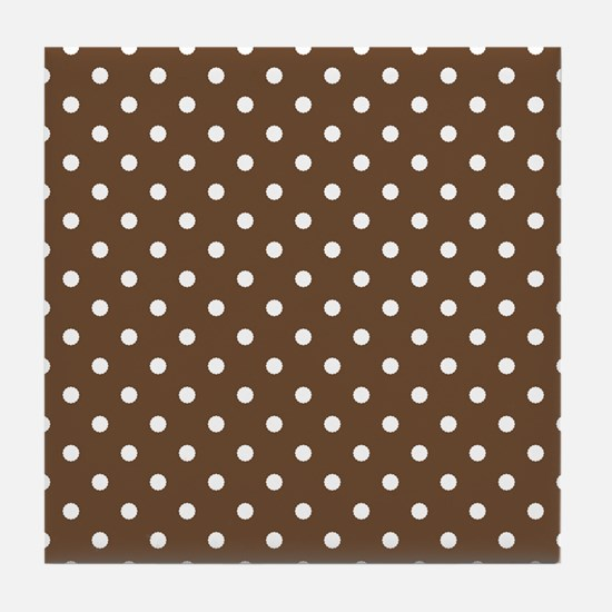 brown with white dots Tile Coaster