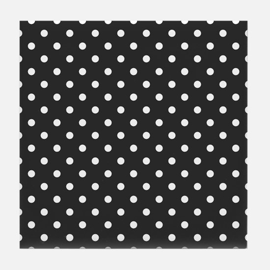gray with white dots Tile Coaster