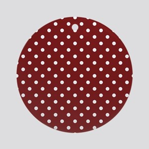 dark red with white dots Round Ornament