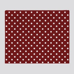 dark red with white dots Throw Blanket