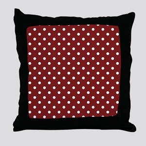 dark red with white dots Throw Pillow