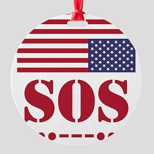 America SOS Round Ornament