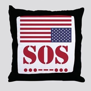 America SOS Throw Pillow