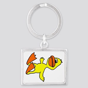 Funny Dead Duck Cartoon Landscape Keychain