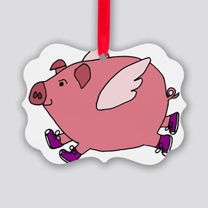 Flying Pig with Sneakers Picture Ornament