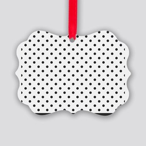 white with soft black dots Picture Ornament