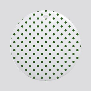 white with green dots Round Ornament