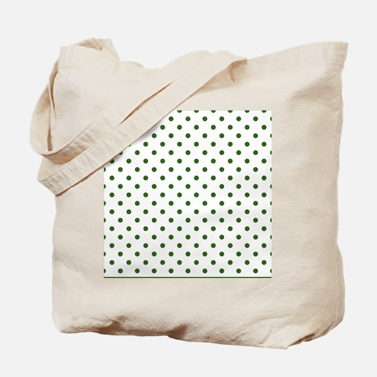 white with green dots Tote Bag