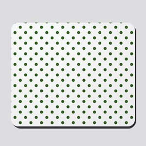 white with green dots Mousepad