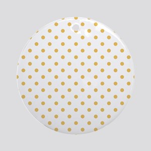 white with golden dots Round Ornament