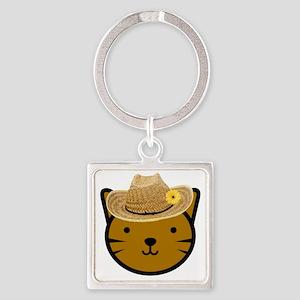 Farmer Kitty Square Keychain