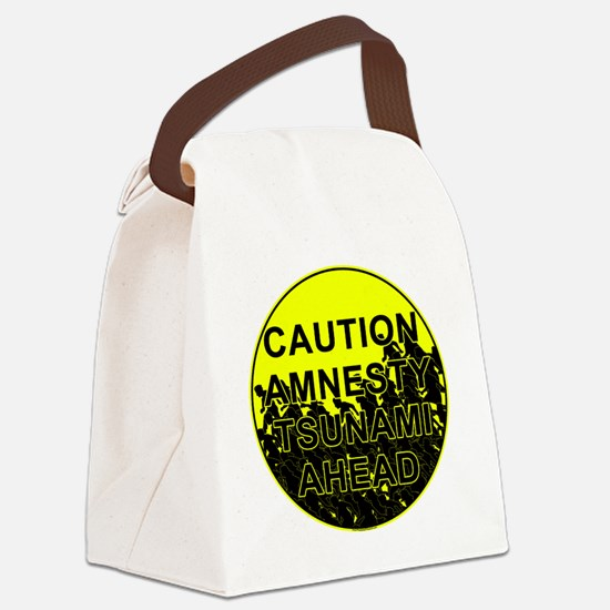 Caution Amnesty Tsunami Ahead Rou Canvas Lunch Bag