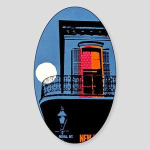 Vintage New Orleans Travel Sticker (Oval)