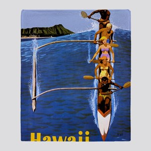 Vintage Hawaii Boat Travel Throw Blanket