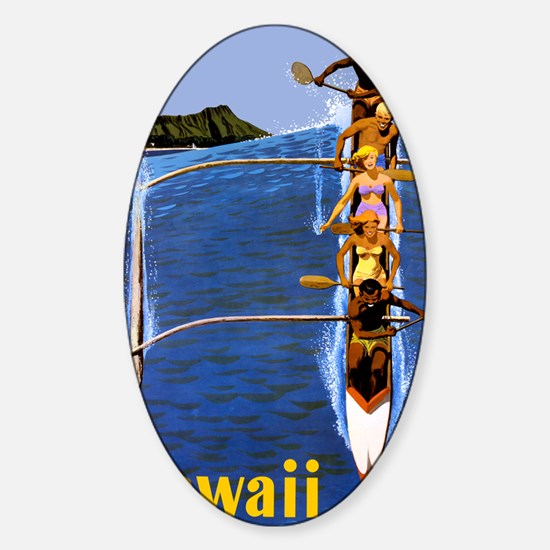 Vintage Hawaii Boat Travel Sticker (Oval)