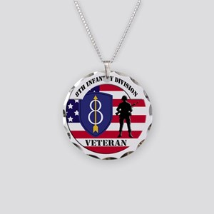 8th Infantry Division Necklace Circle Charm