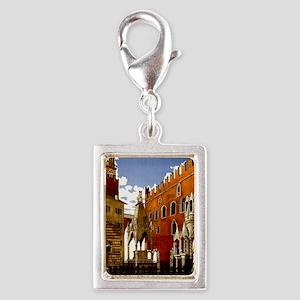 Vintage Verona Italy Travel Silver Portrait Charm
