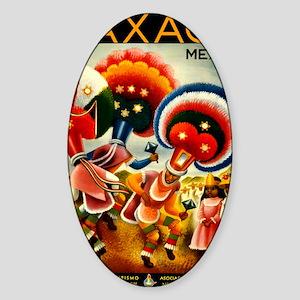 Vintage Oaxaca Mexico Travel Sticker (Oval)