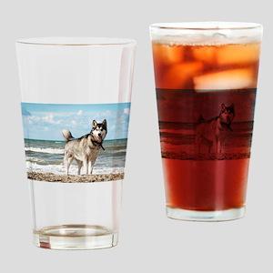 siberian-husky-dog-on-beach Drinking Glass