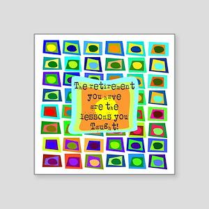 "Retired Teacher PILLOW Funk Square Sticker 3"" x 3"""