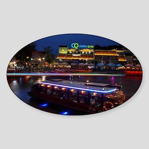 Night life ,  Clarke Quay- Singapor Sticker (Oval)