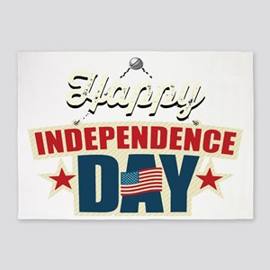 Happy Independence Day 5'x7'Area Rug