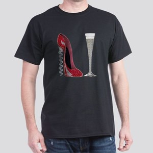 Red Sparkle Corkscrew Stiletto and Ch Dark T-Shirt