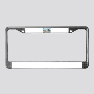 siberian-husky-dog-on-beach License Plate Frame
