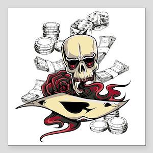 """Gambling Skull Square Car Magnet 3"""" x 3"""""""