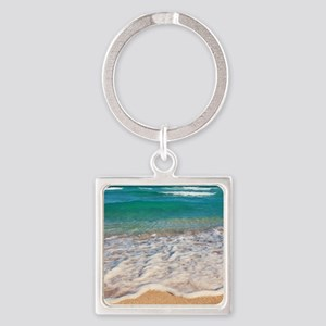 Tropical Beach Square Keychain