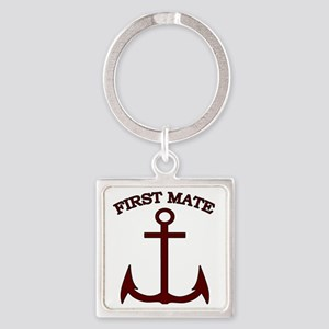 First Mate Boating Anchor Maroon Square Keychain