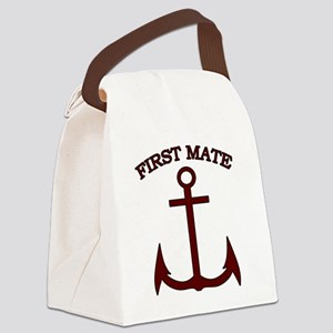 First Mate Boating Anchor Maroon Canvas Lunch Bag