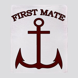 First Mate Boating Anchor Maroon Throw Blanket