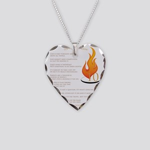 Fiery Quotes Necklace Heart Charm