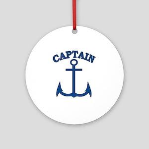 Captain Anchor Blue Round Ornament