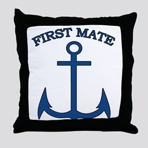 First Mate Sailor Boating Anchor Blue Throw Pillow