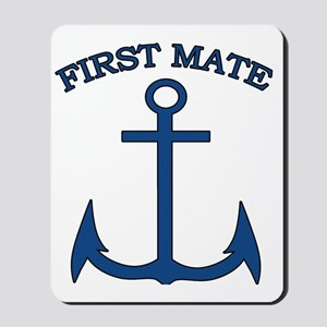 First Mate Sailor Boating Anchor Blue Mousepad