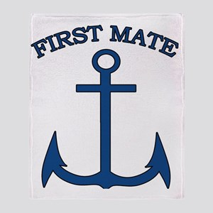 First Mate Sailor Boating Anchor Blu Throw Blanket