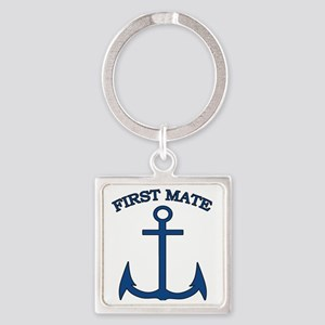 First Mate Sailor Boating Anchor B Square Keychain