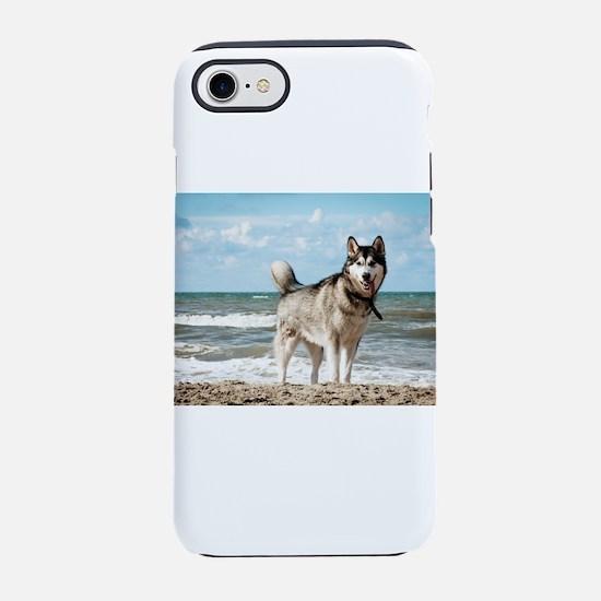 siberian-husky-dog-on-beach iPhone 7 Tough Case
