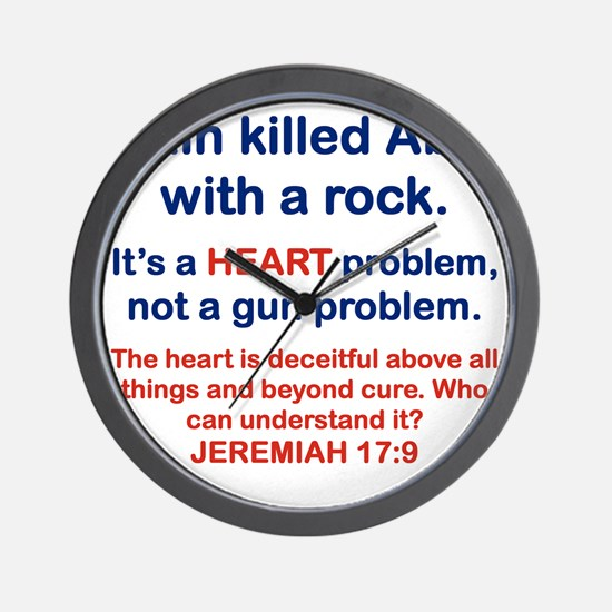 CAIN KILLED ABEL WITH A ROCK Wall Clock