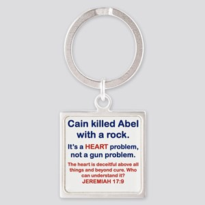 CAIN KILLED ABEL WITH A ROCK Square Keychain