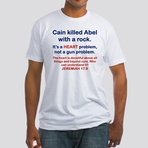 CAIN KILLED ABEL WITH A ROCK Fitted T-Shirt