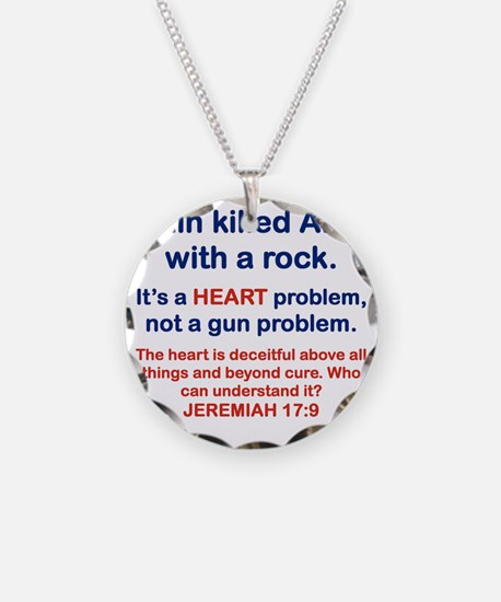 CAIN KILLED ABEL WITH A ROCK Necklace Circle Charm