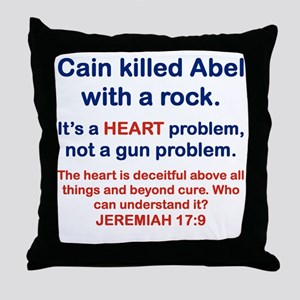 CAIN KILLED ABEL WITH A ROCK Throw Pillow